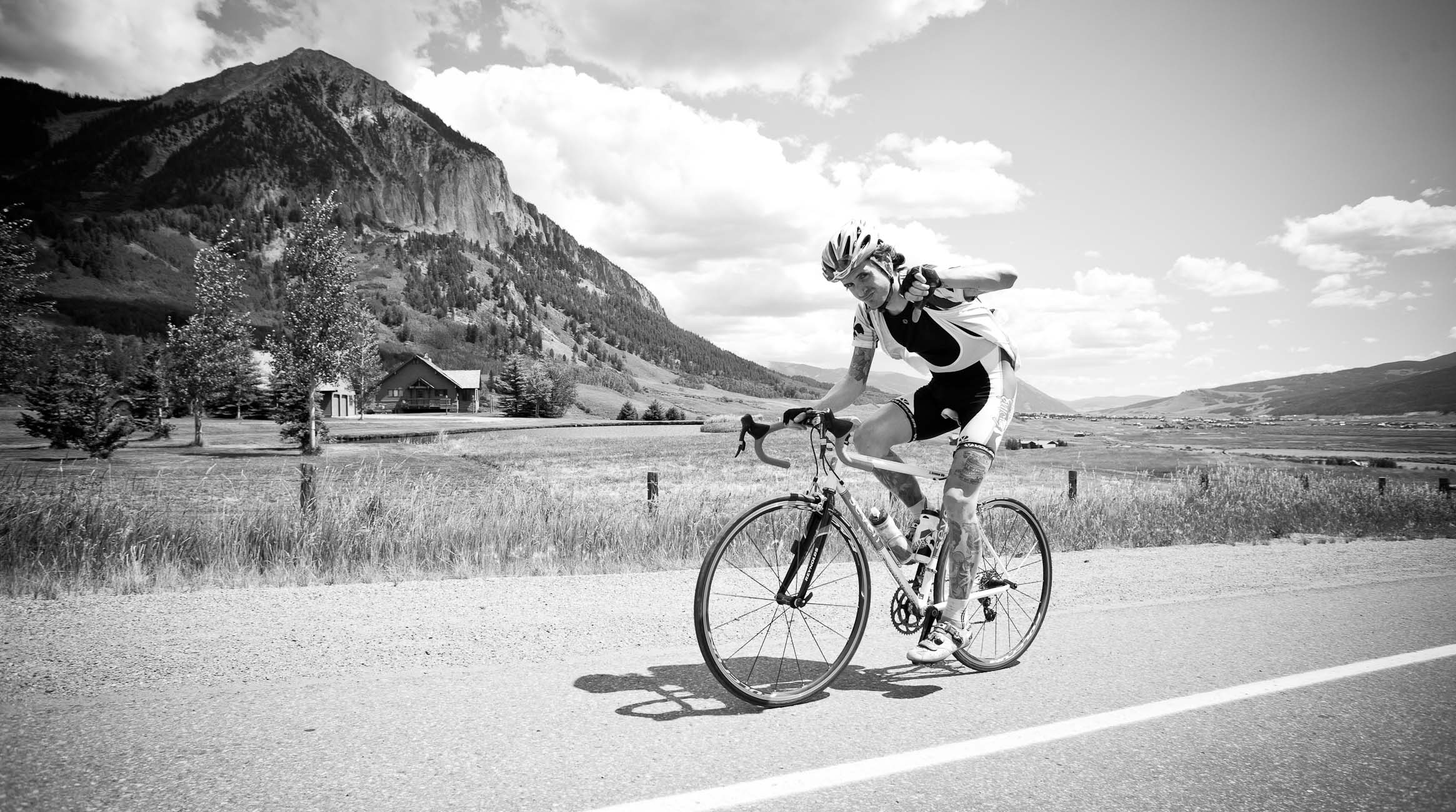 Amateur rider trying to beat the peloton to Crested Butte CO