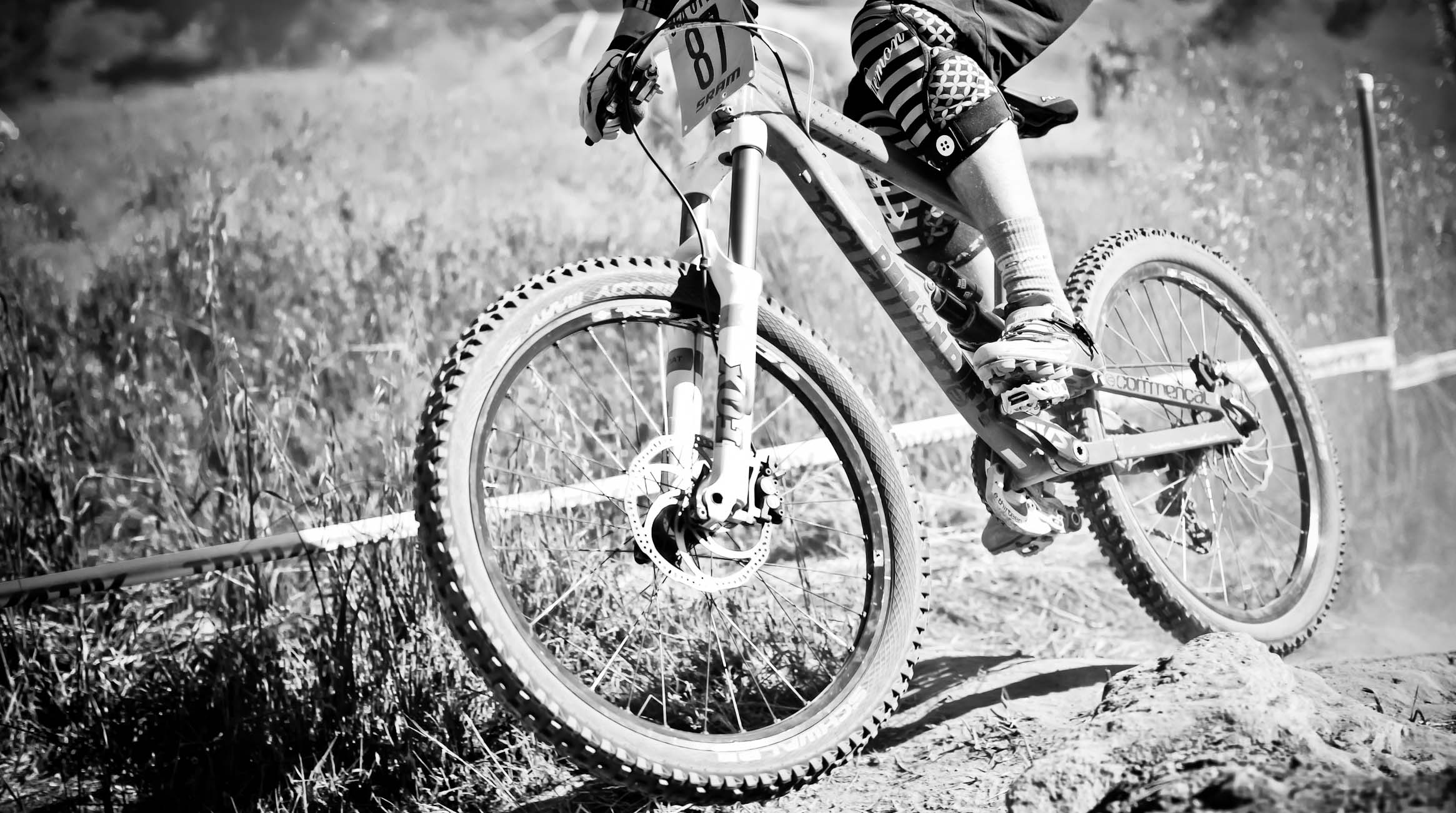 Mountain bike downhill racer closup